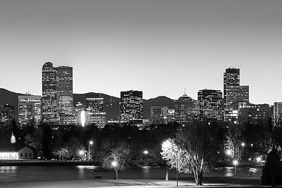 Photograph - Black And White Denver Colorado Skyline by Gregory Ballos