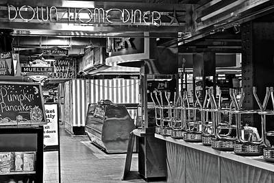 Photograph - Black And White Diner by Frozen in Time Fine Art Photography