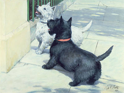 Railing Painting - Black And White Dogs by Septimus Edwin Scott