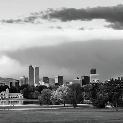 Photograph - Black And White Downtown Denver Skyline Under Clouds 1x1 by Gregory Ballos