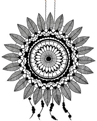 Dreamcatcher Drawing - Black And White Dreamcatcher by Elizabeth Davis