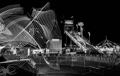Photograph - Black And White Fair Rides At Night by Dan Sproul