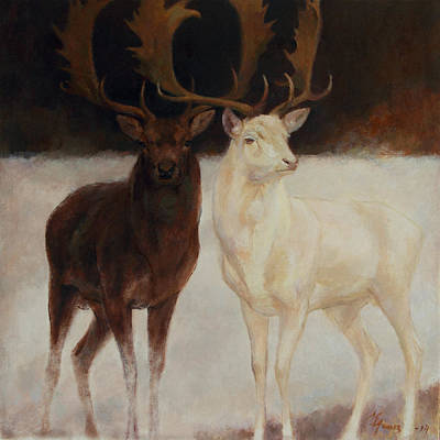 Painting - Black And White Fallow Deers by Attila Meszlenyi