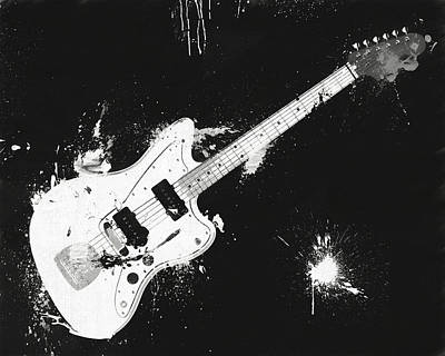 Mixed Media - Black And White Fender Paint Splatter by Dan Sproul
