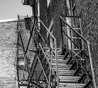 Photograph - Black And White Fire Escape by Dan Sproul