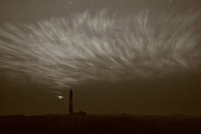 Photograph - Black And White Fire Island Light Cirrus by Christopher Kirby