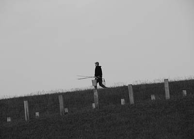 Angling Photograph - Black And White Fisherman by Dan Sproul