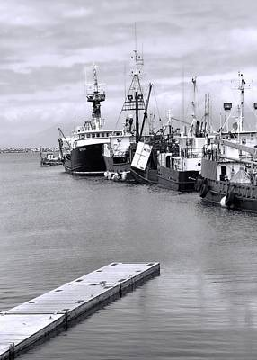 Black And White Fishing Boats On The Dock Art Print by Dan Sproul
