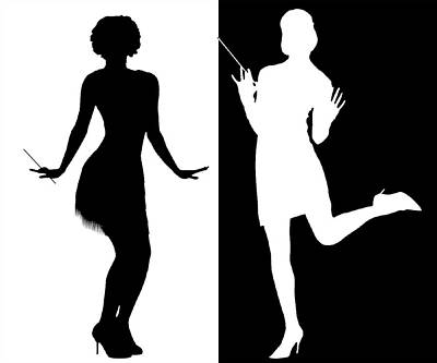Digital Art - Black And White Flappers 2 by Chuck Staley
