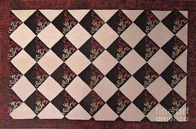 Mixed Media - Black And White Checkered Floor Cloth by Judith Espinoza