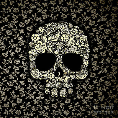 Old School Tattoos Digital Art - Black And White Floral Sugar Skull by Three Second