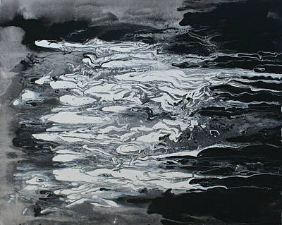Painting - Black And White Fluid Painting by Alma Yamazaki
