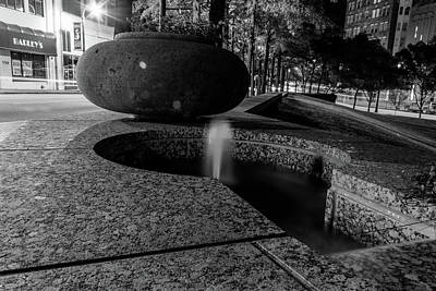 Photograph - Black And White Fountain by Kenny Thomas
