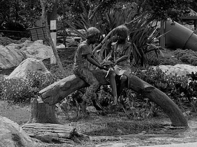 Photograph - Black And White Friendship Statue   by Chris Mercer