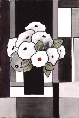 Black And White Funny Flowers Art Print by Carrie Allbritton
