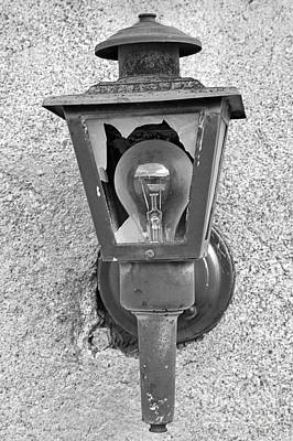 Photograph - Black And White Ghost Town Lamp by Adam Jewell