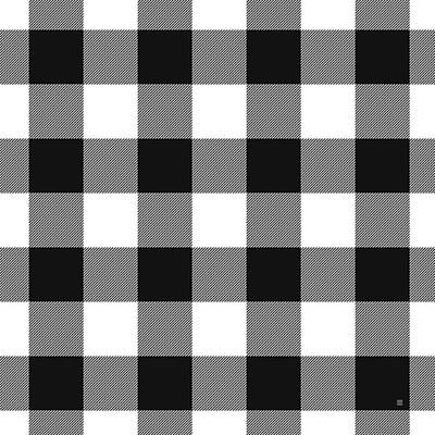 Black And White Gingham Large- Art By Linda Woods Art Print
