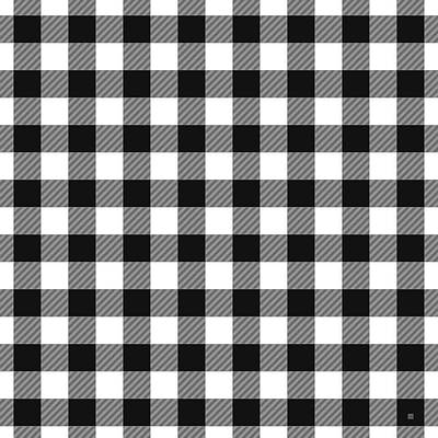 Digital Art - Black And White Gingham Small- Art By Linda Woods by Linda Woods