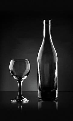 Glass Photograph - Black And White Glass And Bottle Glass Art by Wall Art Prints