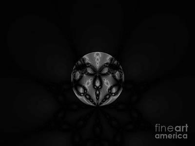 Black And White Globe Fractal Art Print