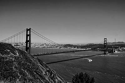Photograph - Black And White Golden Gate Bridge  by Serena King
