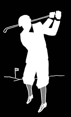 Black And White Golfer Art Print by James Hill