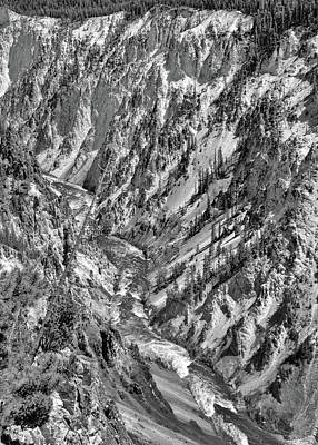 Photograph - Black And White Grand Canyon Of Yellowstone by Dan Sproul