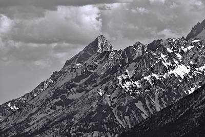 Photograph - Black And White Grand Teton Detail by Dan Sproul