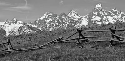 Photograph - Black And White Grand Teton Mountains Old Fence by Dan Sproul