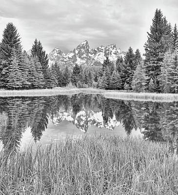 Photograph - Black And White Grand Teton Reflection At Schwabachers Landing by Dan Sproul
