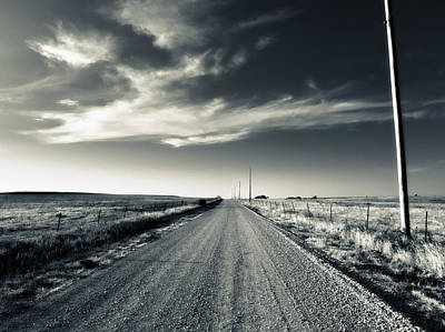Telephone Poles Photograph - Black And White Gravel by Eric Benjamin