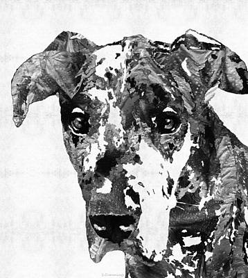 Black And White Great Dane Art Dog By Sharon Cummings Print by Sharon Cummings