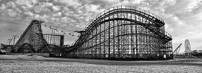 Roller Coaster Photograph - Black And White - Great White Roller Coaster - Adventure Pier Wi by Bill Cannon