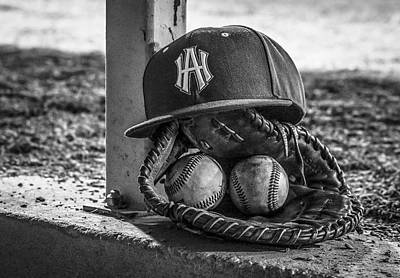 Black And White Ha Baseball Hat With Mitt And Balls Art Print by Jeremy Raines