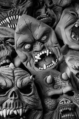Spook Photograph - Black And White Halloween Masks by Garry Gay