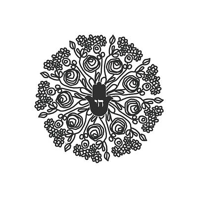Mixed Media - Black And White Hamsa Mandala- Art By Linda Woods by Linda Woods