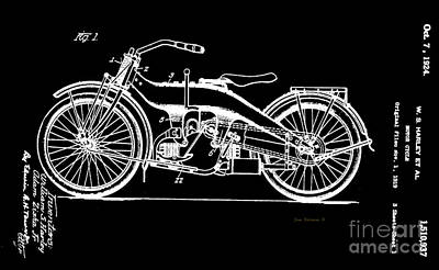 Photograph - Black And White Harley Motorcycle Patent 1924 by John Stephens