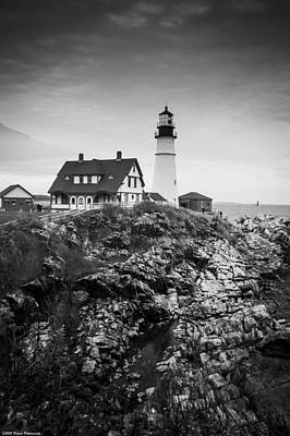 Photograph - Black And White Head Light Lighthouse Portland Maine by Debra Forand