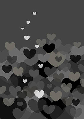 Digital Art - Black And White Heart Abstract by Val Arie