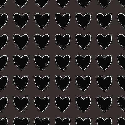 Black And White Hearts 1- Art By Linda Woods Art Print by Linda Woods