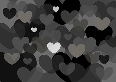 Digital Art - Black And White Hearts by Val Arie