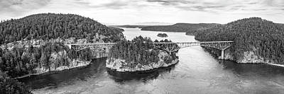 Photograph - Black And White Helicopter View Of Deception Pass, Washington by Open Range