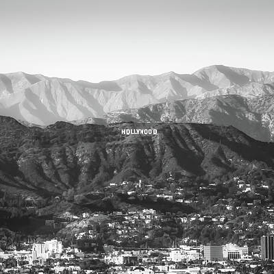 Photograph - Black And White Hollywood Hills California - Square Art by Gregory Ballos