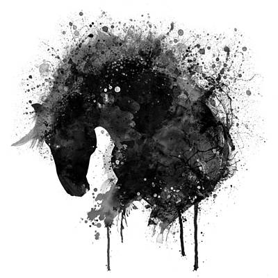 Mixed Media - Black And White Horse Head Watercolor Silhouette by Marian Voicu