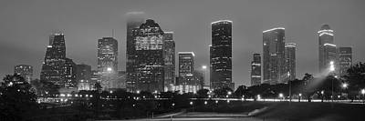 Photograph - Black And White Houston Panorama by Frozen in Time Fine Art Photography