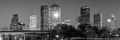 Photograph - Black And White Houston Texas Downtown Skyline Panorama by Gregory Ballos