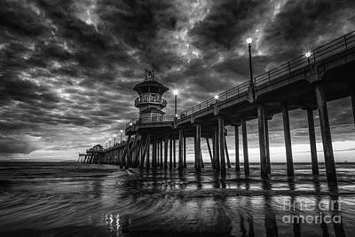 Photograph - Black And White Huntington Beach Pier by Peter Dang