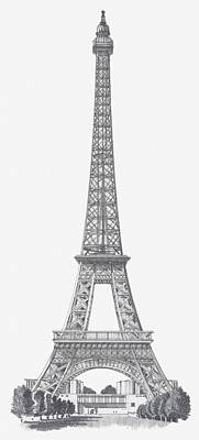 Black And White Illustration Of Eiffel Tower Print by Dorling Kindersley