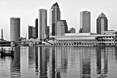 Tampa Skyline Photograph - Black And White In The Heart Of Tampa Bay by Frozen in Time Fine Art Photography