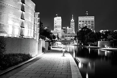 Photograph - Black And White Indianapolis Skyline From The Canal by Gregory Ballos